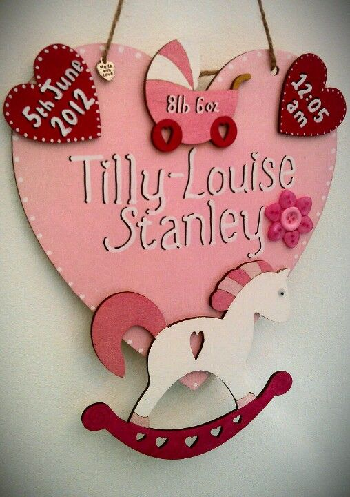 Beautiful newborn heart plaque keepsakes, personalised blue/pink with babies full name, time, date and weight at birth £10.99 x