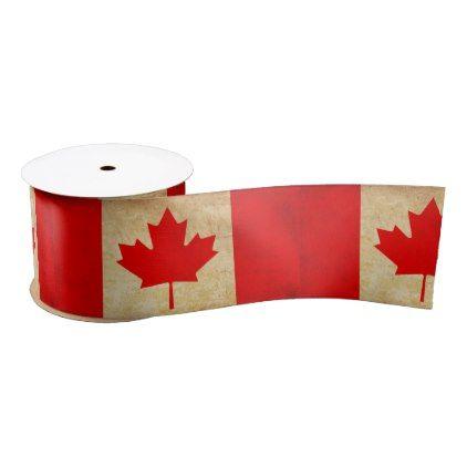 #Original Vintage Patriotic National Flag of CANADA Satin Ribbon - cyo customize do it yourself diy