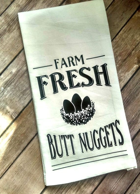Funny Kitchen Towel, Chicken Kitchen Decor, Farm Fresh Butt Nuggets, Flour Sack Towel, Funny Kitchen Decor, Farmhouse Decor, Mother's Day