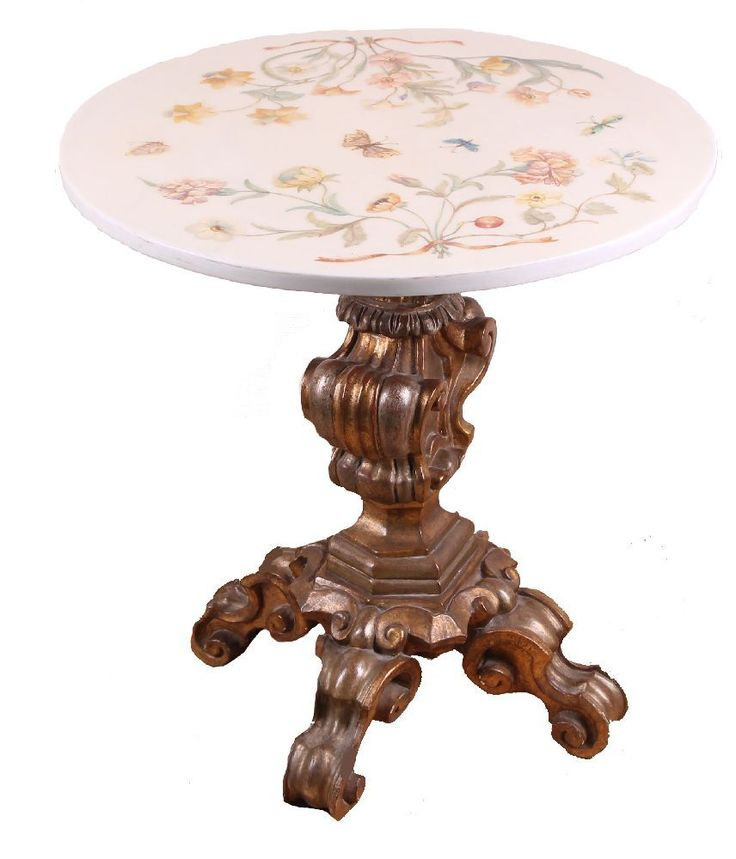 tisch rund reich verzierter mittelfu holz vergoldet marmorplatte lackiert mit floralen. Black Bedroom Furniture Sets. Home Design Ideas