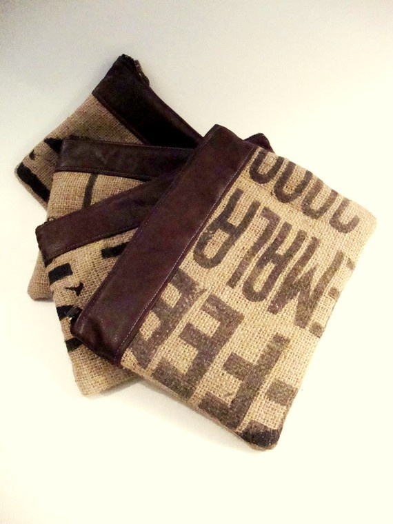 Set of 4 letters jute utility pouch organizer gadget case for Puff and pass cover letter