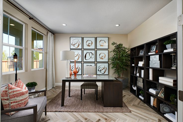 Beautiful bookshelves Stacey model home study Stockton