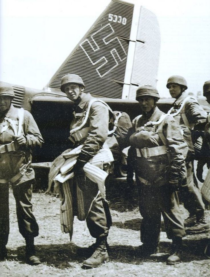 WW2 The Battle of Crete (Operation Mercury 20th May - 1st June 1941) German Paratroopers (Luftwaffe Fallschirmjager) and Ju 52 transport aircraft  20 May 1941