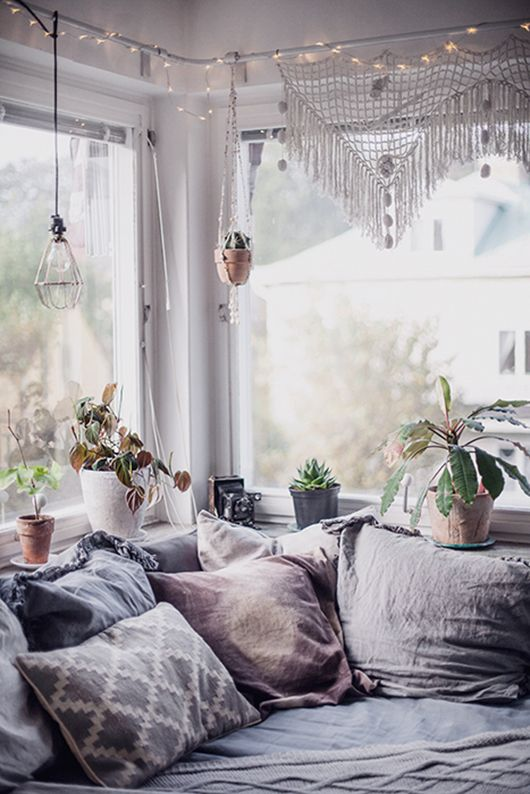 Pillows and plants against big windows