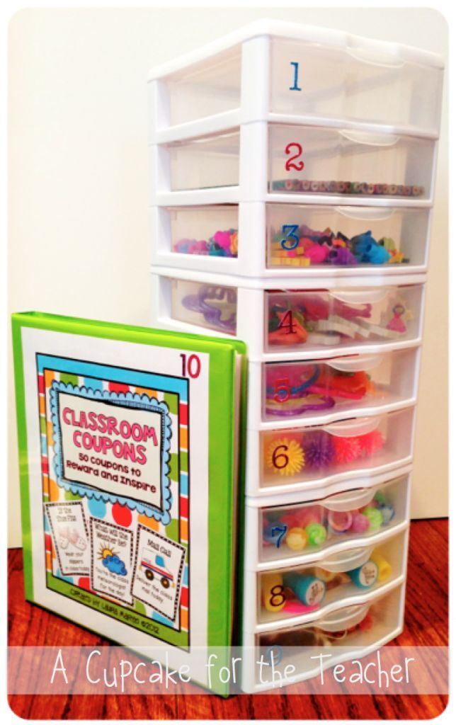 """A behavior reward system that might be possible to do in a home learning environment. Students earn tickets during the week and trade them in for prizes according to the number of tickets they earned. Of course, at home, you might not need so many boxes. Or you could just put a variety of items in a basket with a """"price"""" of XX tickets."""