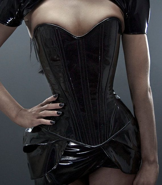 L Black PVC overbust corset by Artifice by ArtificeClothing, $110.00