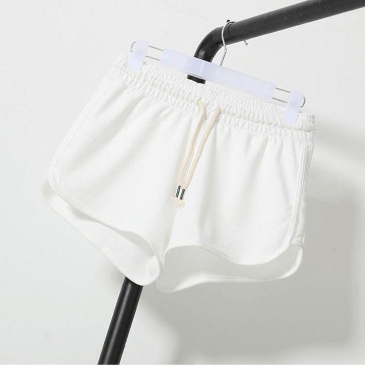 Solid elastic waist Summer Shorts