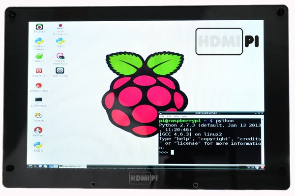 """HDMIPi 9"""" 1280x800 screen in prototype surround"""