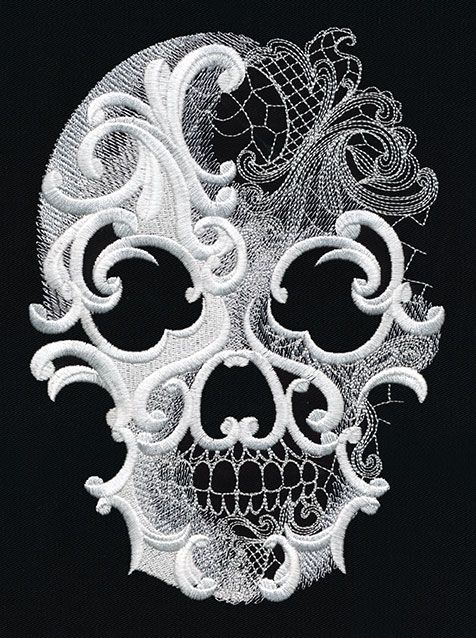 skull - would this work for the dia de los muertos scarf I want to make (using the one from Grandin Road as inspiration?)