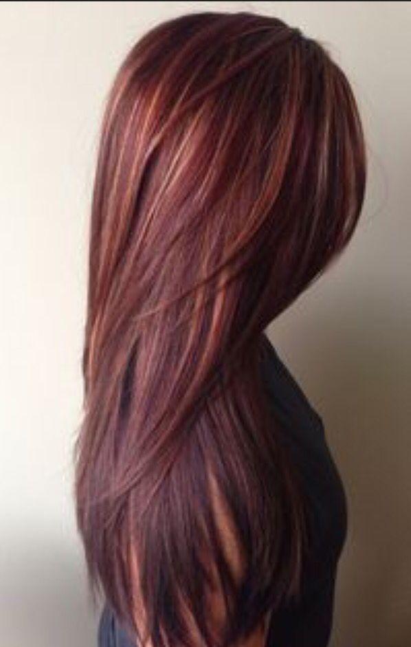 Burgundy plum blonde brown highlights