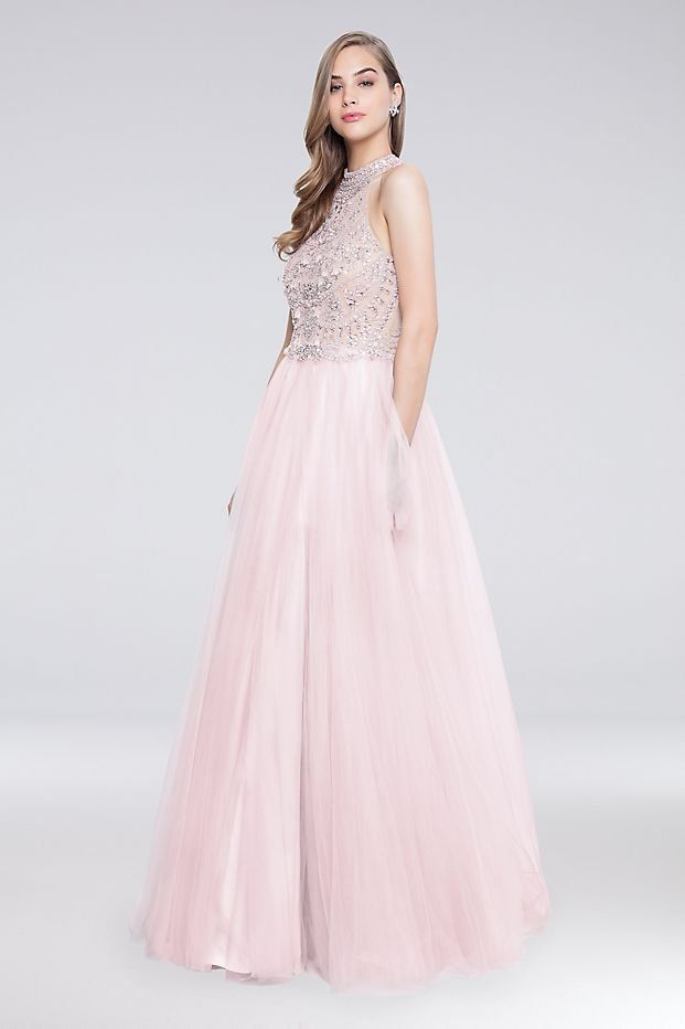 af557d619e9 High-Neck Long Tulle Ball Gown Prom Dress with Beaded Bodice by Terani  Couture available at David s Bridal
