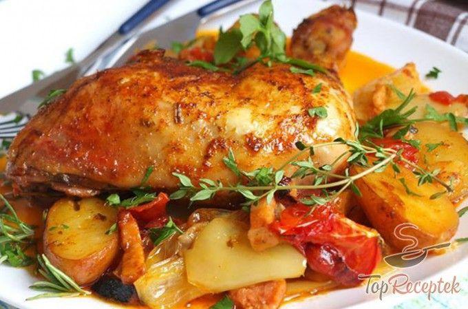 Zöldséges sült csirke, egyetlen tepsiben
