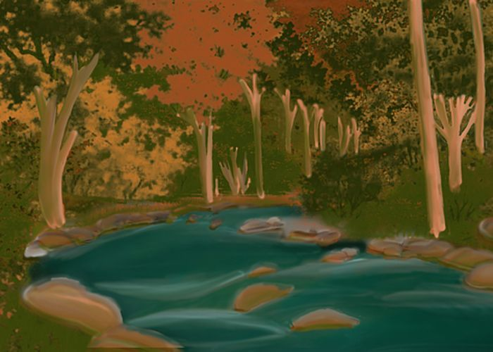 River in the wood Greeting Card