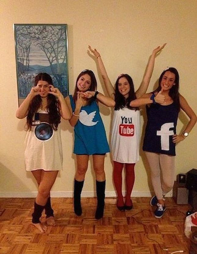 You + your squad can dress up as various social media networks — Instagram, Twitter, YouTube + Facebook — with the help of this DIY Halloween costume tutorial.