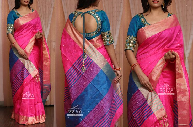 PV 3238 : Pink Raw silkPrice : 4950u20b9Look like a trend setter this wedding season in this Pink raw silk stone studded sari with a green pallu and bring in compliments like never beforeUnstitched blouse piece - Green raw silk / Green Blouse with work displayed in the picture is available at additional price For Orders please drop us an email to privacollective@gmail.com or call us at 9160560480/9989888510 15 February 2017