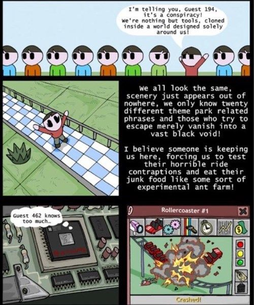 Rollercoaster Tycoon is a Conspiracy! [Comic]
