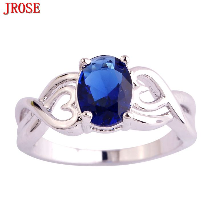 JROSE Wholesale Pretty Lovely Heart Jewelry New Fashion Created Sapphire Silver Plated Ring Size 6 7 8 9 10 For Women Men Gift