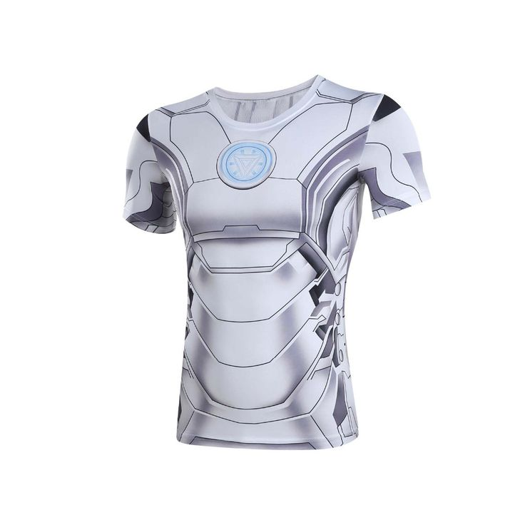 nice Rashguard Short Sleeve Tee Shirt Crossfit White Iron Man Armor  -  This t-shirt looks like natural superhero gear! Fits perfectly rash guard tee shirt is ideal for sport and daily usage. This shirt contains lycra, which allows  material  stretch to the several sizes and comes back to normal size. Perfectly breath tissue, the color doesn't fade over time.
