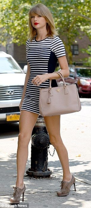 short sleeved black and white striped optical illusion dress
