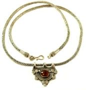 Stirling Silver Handcrafted Necklace - Amber semi precious stone pendant  $69.00