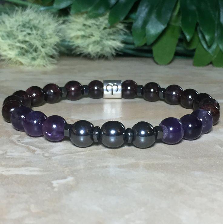 Men Aries Zodiac Bracelet, Garnet Bracelet, Amethyst Bracelet, Hematite Bracelet, Astrology Bracelet, Selenite Crystal For Charging by SymbolicGems on Etsy https://www.etsy.com/listing/279140394/men-aries-zodiac-bracelet-garnet