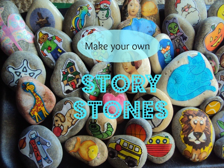 story stones - great as story telling aides or for imaginative play.  Easy and fun to make (happyhooligans.ca)