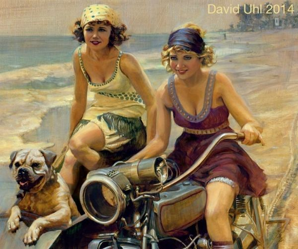 Original David Uhl Oil Painting Of Two Women On A