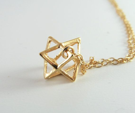 Large size gold Merkaba necklace Star of David necklace3D