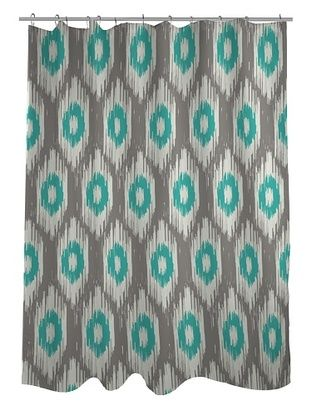 45% OFF One Bella Casa Kelly Ikat Shower Curtain, Grey/Turquoise