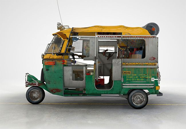Zombie Survival Vehicles, a series of Cinema 4D 3d rendered illustrations from Donal O'Keeffe