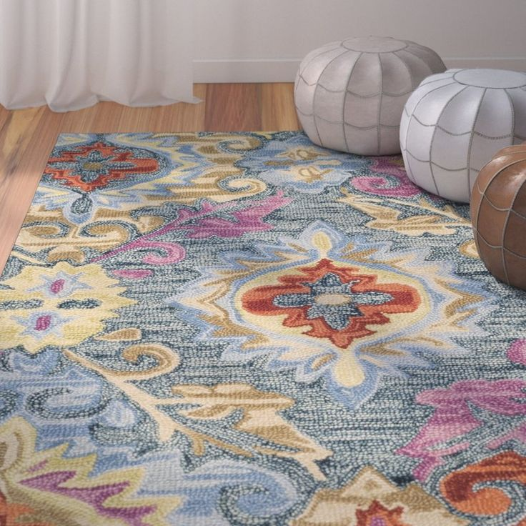 Tomo Hand-Hooked Blue/Yellow Area Rug