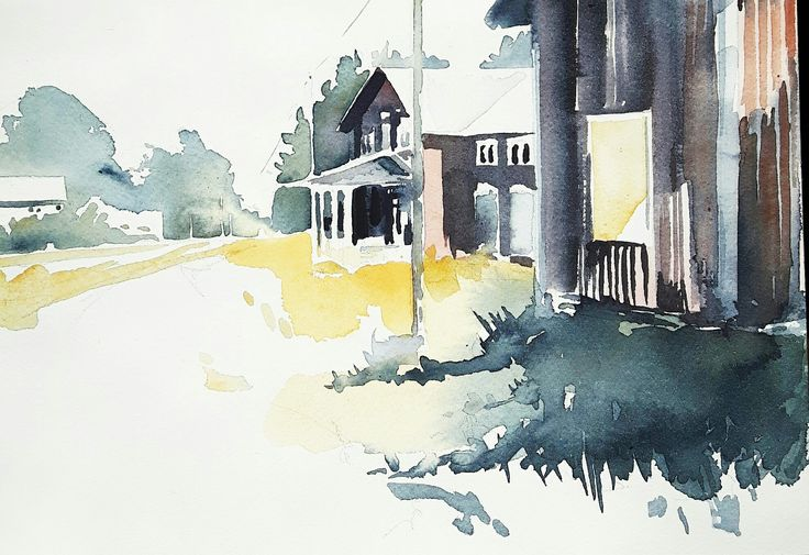 Akvarell, en övergiven gård. // Watercolor, an abandoned place.