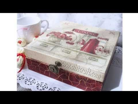 Crackle paint technique tutorial. Decoupage box with napkin and transparent, colour crackle varnish. - YouTube