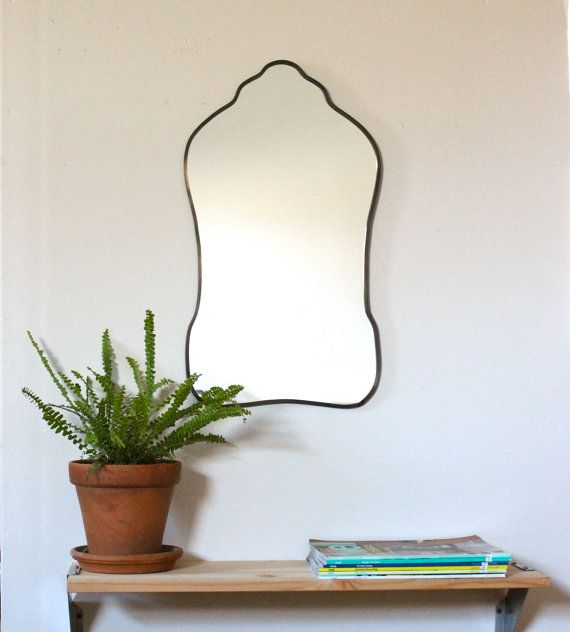 Oval Mirror Handmade Wall Mirror Frameless Wall Mirror Miroir Oblong Sculpted Organic Curved Curvy Scalloped