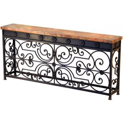 The Gate console table is highlighted by spectacular iron work that mirrors and a long hammered copper top.  Being almost six feet long, this console is perfect for a bold statement of southwestern style in any hallway or living room.  A shorter version is also available below.