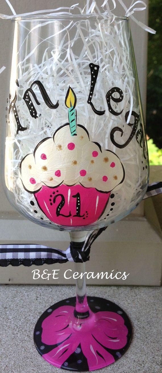 Milestone 21st Birthday Handpainted Custom Wine Glass