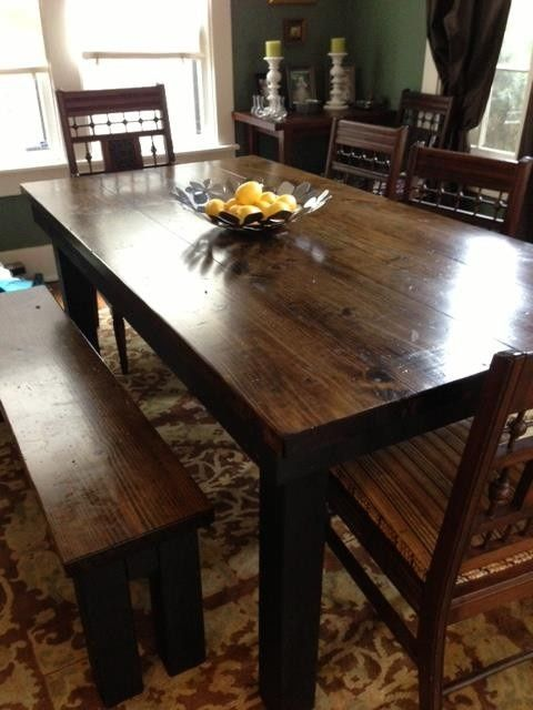 James+James 7 foot Farmhouse Table stained in Dark Walnut with Black Painted Base. Pictured with matching Farmhouse Bench.