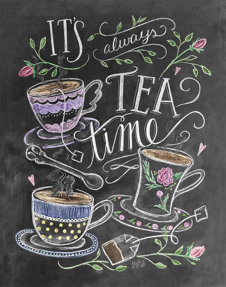 """It's always tea time!"" We're pleased to add a print for Tea Lovers to the L&V collection. This colorful, whimsical design would make a lovely addition to your kitchen decor or a perfect gift for a te"