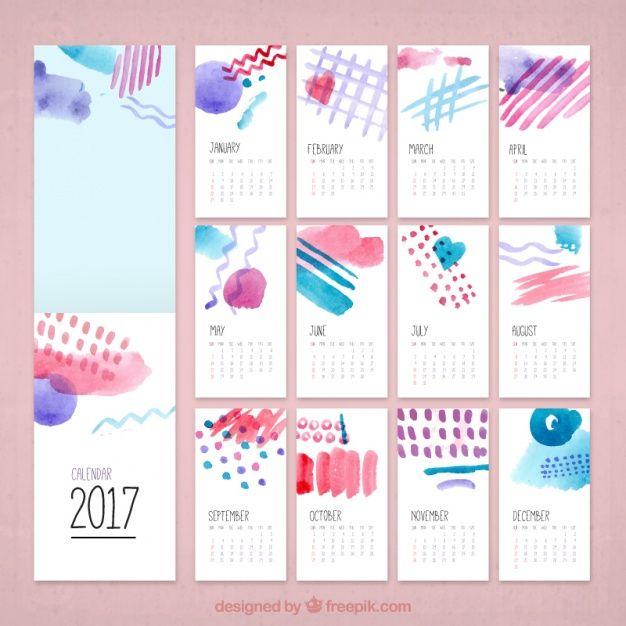 Aquarela calendário criativo 2017 Vetor grátis                                                                                                                                                                                 Mais
