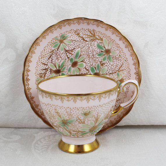 Vintage Blush Pink Mint Green And Gold Tuscan English Bone China Tea Cup