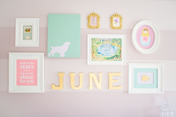 This gallery wall is filled with bright colors and sweet wall art!: Teal Nurseries, Baby Rooms Galleries Wall, Art Ideas, Projects Nurseries, Baby Girls, Purple Teal, Nurseries Wall Art, Girls Nurseries, Girls Rooms