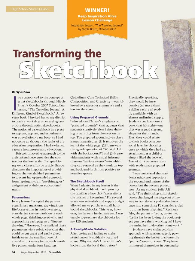 Transforming the Sketchbook #HighSchool #ArtEducation #ArtEd #ArtLesson #Drawing #Sketchbook