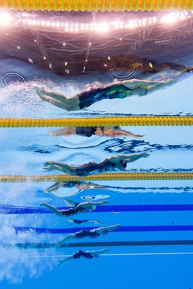 #RIO2016 Swimmers take part in aWomen's 200m Freestyle semifinal during the swimming event at the Rio 2016 Olympic Games at the Olympic Aquatics Stadium in...