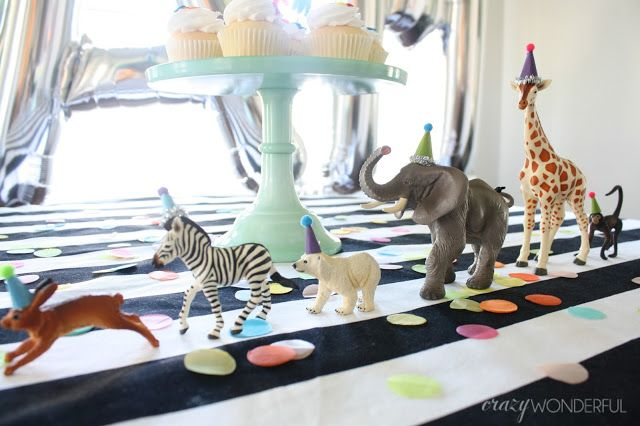 party animal themed birthday, plastic animals party hats, boy birthday party idea