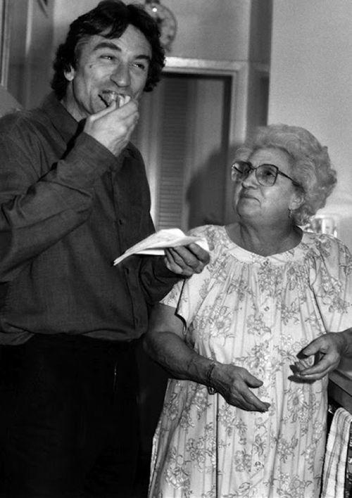 Robert De Niro with Martin Scorsese's mom, Catherine