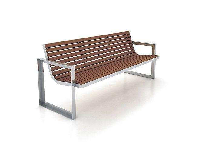 banco público de diseño de madera y metal (con respaldo) RIO by Juan Cuenca Tecnología & Diseño Cabanes
