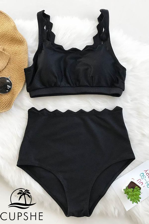 07078c5b29607 Scalloped detailing and a flattering high waisted bikini bottom. Available  in black and white!
