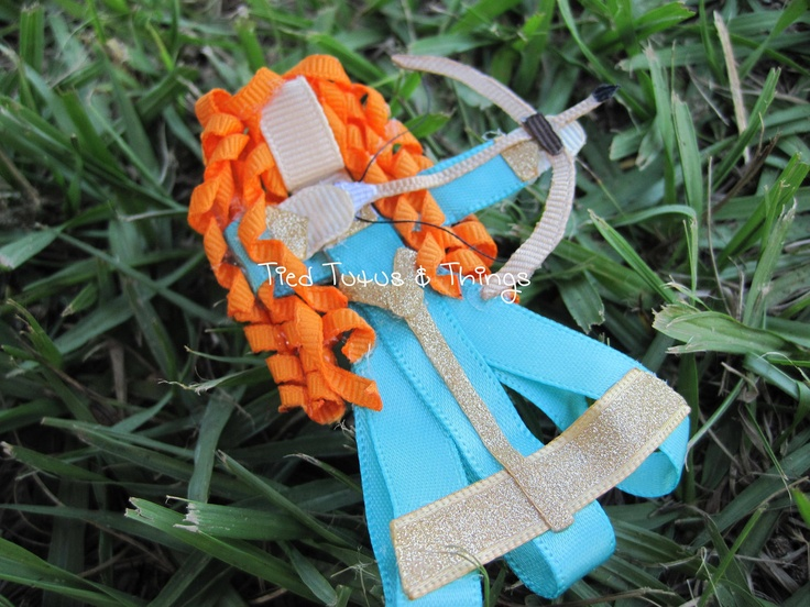 Orange Brave Princess with bow and arrow hair clip