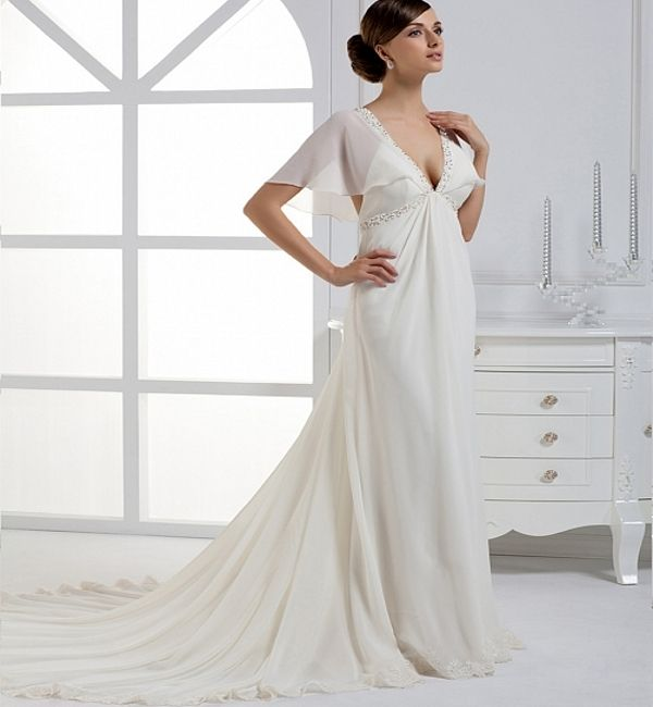 2013 Sexy Ivory /White Cap Sleeves Simple & Deep V Neck Style Wedding Dresses With Transparent  Butterfly Sleeves US $169.49