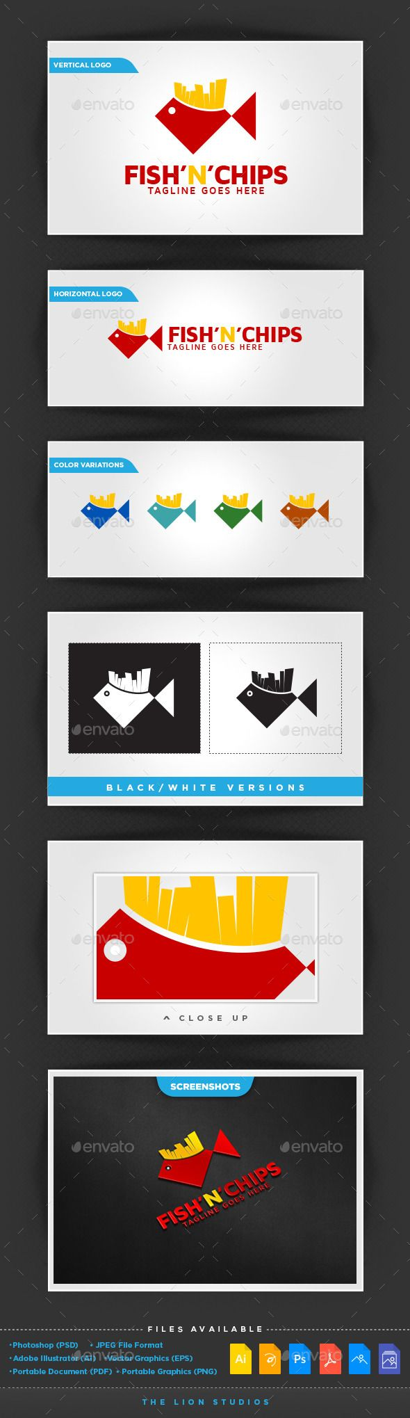 Professional, corporate and modern logo design temple showing Fish and Chips.  This logo design package includes :  ? Vertical, Ho